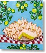 Key Lime Pie Mini Painting Metal Print