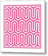 Key Maze With Border In French Pink Metal Print