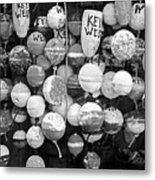 Key West Lobster Buoys Black And White Metal Print