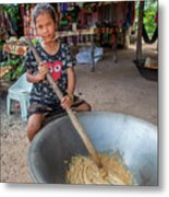 Khmer Girl Makes Sugar Cane Candy Metal Print