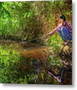 Khmer Woman Fishing - Cambodia Metal Print
