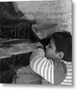 Kid Drinking From The Fountain Metal Print