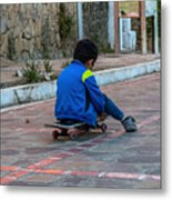 Kid Skateboarding Metal Print