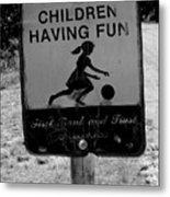 Kids At Play Sign Metal Print