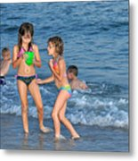 Kids At The Beach Metal Print