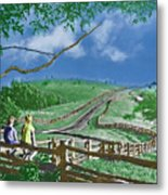 Kids On A Fence Metal Print