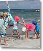 Kid's Yoga Class On Wingaersheek Beach Metal Print