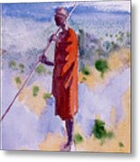 Kikuyu In A Red Cloak Metal Print