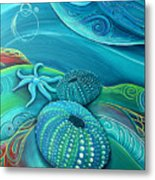 Kina Sea Anemone With  Stingray By Reina Cottier Metal Print