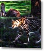 King Cheetah And 3 Cubs Metal Print