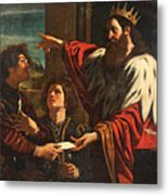 King David Giving Uriah A Letter Metal Print