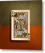 King Of Clubs In Wood Metal Print