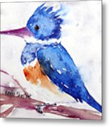 Kingfisher On A Stick Metal Print