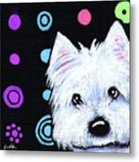 Kiniart Disco Westie Metal Print