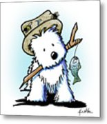 Kiniart Westie Fisherman Metal Print