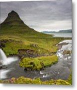 Kirkjufellsfoss On Snaefellsnes Peninsula Iceland Metal Print