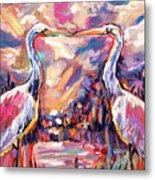 Kissing Egrets Never Forget Metal Print