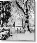 Kissing Gate In The Snow Metal Print