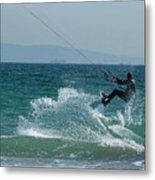 Kite Surfer Jumping Over A Wave Metal Print by Sami Sarkis