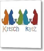 Kitsch Cats Silhouette Cat Collage Pattern Isolated Metal Print