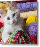 Kitten In Yarn Metal Print