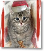 Kitten Playing Santa  Metal Print