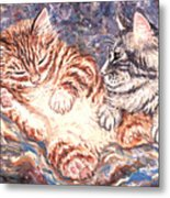 Kittens Sleeping Metal Print