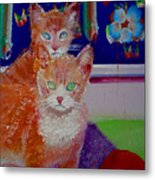 Kittens With Wild Wallpaper Metal Print