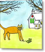 Kitty And The Mouse Metal Print