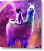 Kitty Cat Riding On Rainbow Llama In Space Metal Print