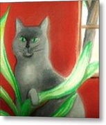 Kitty In The Plants Metal Print