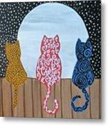 Kitty Moon Rise Metal Print
