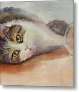 Kitty With Spilled Milk Metal Print