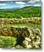 Kiva And View Pecos Ruins New Mexico Metal Print