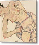 Kneider Weiblicher Halbakt Metal Print by Egon Schiele