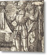 Knight In Armour With Bread And Wine Metal Print