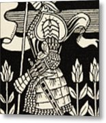 Knight Of Arthur, Preparing To Go Into Battle, Illustration From Le Morte D'arthur By Thomas Malory Metal Print
