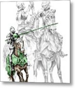 Knight Time - Renaissance Medieval Print Color Tinted Metal Print