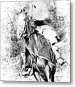 Knight With His Horse Metal Print