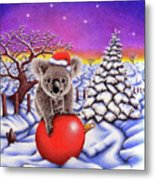 Koala On Christmas Ball Metal Print