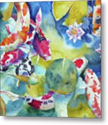 Koi And Two Waterlilies Flowers Metal Print