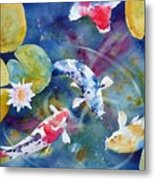 Koi And Waterlily Flower Metal Print