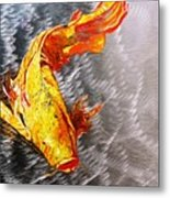 Koi Fish Aluminum Print, Unique Gift For Any Home Or Office. 'the Silver Koi'. Metal Print