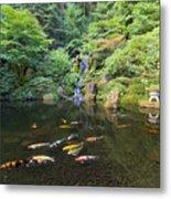 Koi Fish In Waterfall Pond At Japanese Garden Metal Print