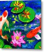 Koi Fishes Pond Metal Print