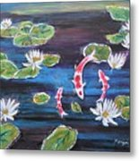 Koi In Lilly Pond Metal Print