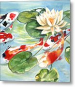 Koi In The Water Lilies Metal Print