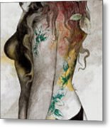 Koi No Yokan - Erotic Drawing, Sexy Tattoo Girl In Thong Biting An Apple Metal Print