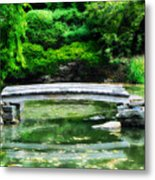 Koi Pond Bridge - Japanese Garden Metal Print