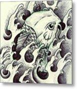 Koi Through The Water Metal Print